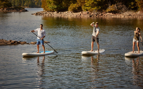 Paddle boarders using inflatable SUP Boards