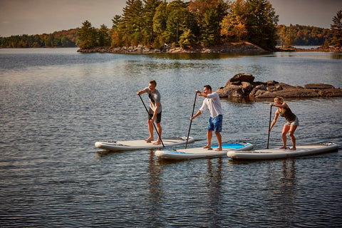 3 Paddle Boarders in calm water