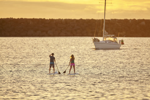 Paddle Boarders paddling in a group