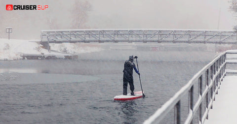 a stand up paddle boarder padding close to shore in winter