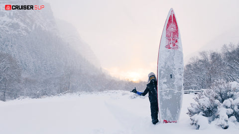 stand up paddle boarder ready to go SUP boarding in winter