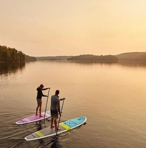 Paddling Cruiser SUP Fusion and Bliss Feather-Lite Wood / Carbon on beautiful lake