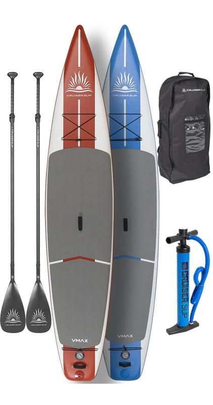 "Two CruiserSUP® V-Max Inflatable 12'6"" Race/Touring w/Wheeled Back Pack - Combo Board Package"