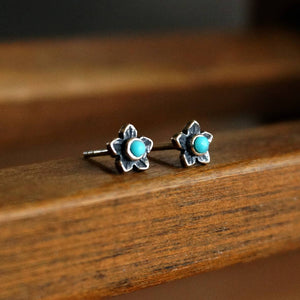Turquoise Plumeria Flower Earrings