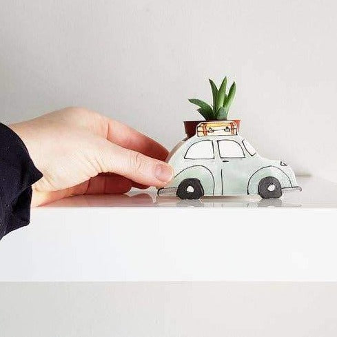 Vintage VW Bug Ceramic Planter