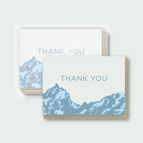 Box Set of 6 - Thank You Mountains Blue Card