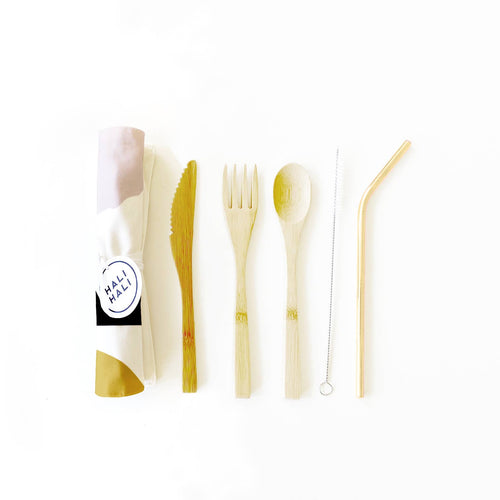 6 pc Eco Friendly Reusable Cutlery Set - Sunset
