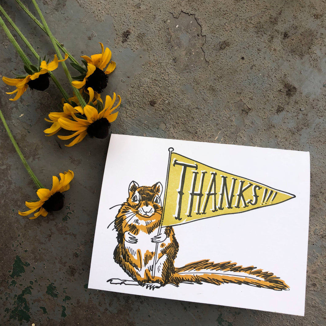 Chipmunk Flag Thank You Card