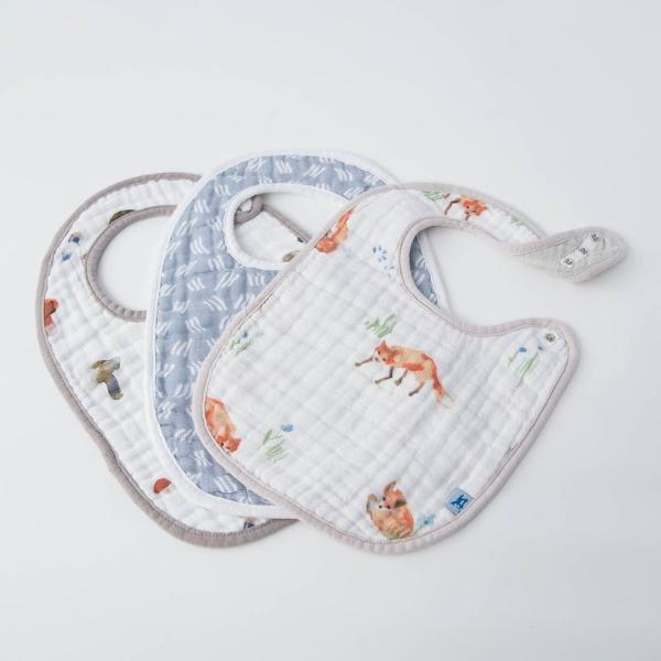 Cotton Muslin Classic Bib (3 Pack) Fox Print