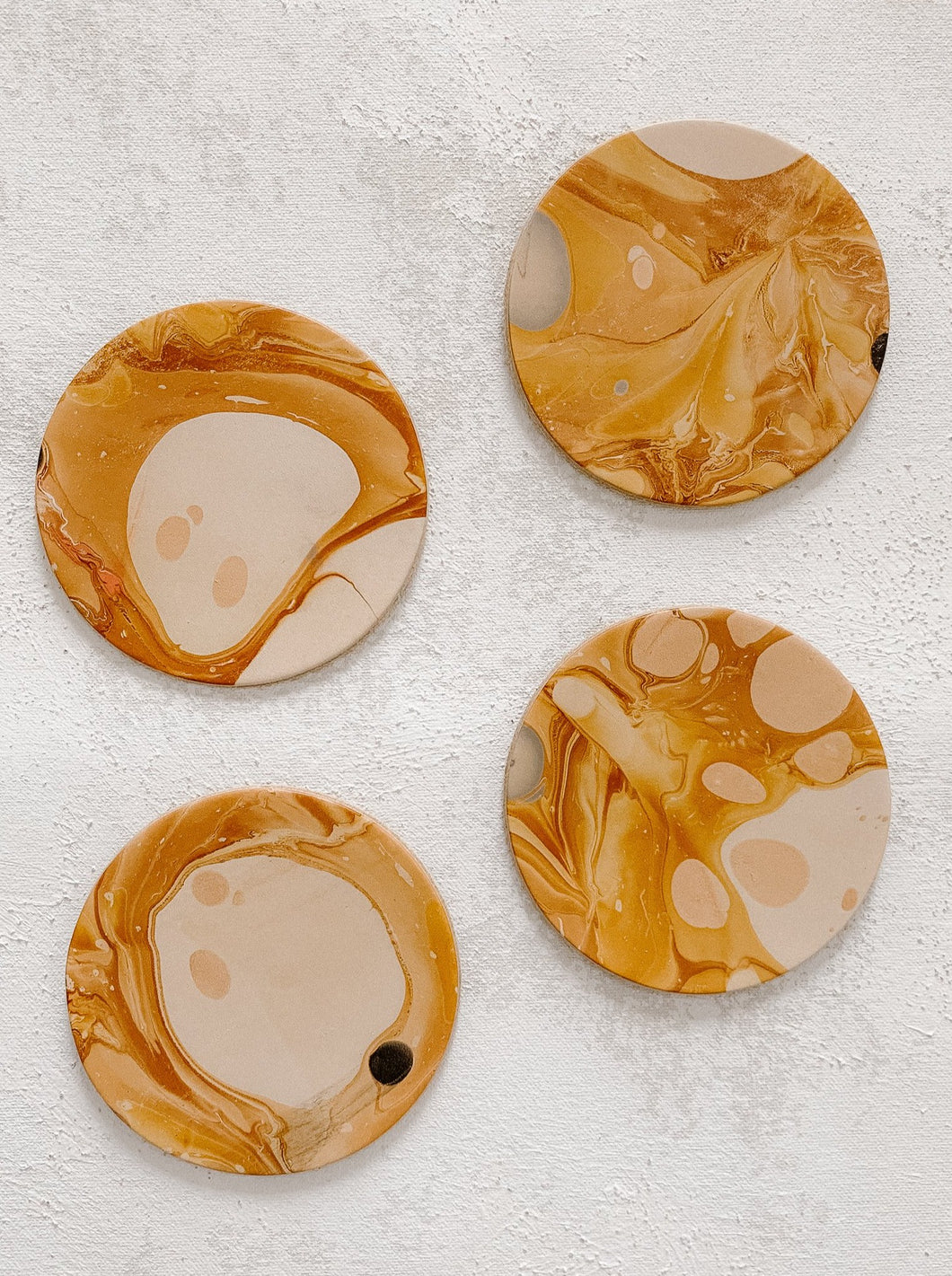 Marbled Leather Coaster Set