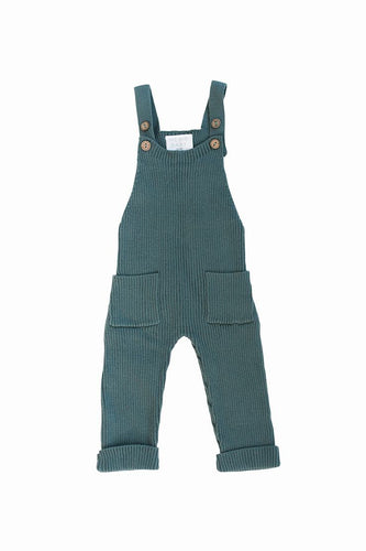 Knit Overalls in Teal