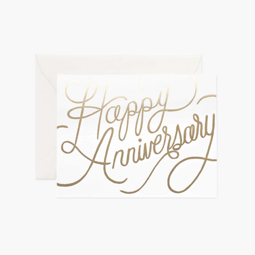 Gold Cursive Happy Anniversary Card