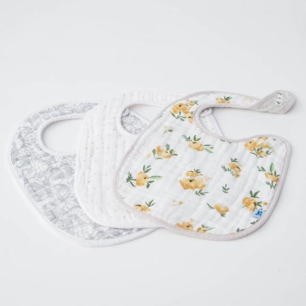 Cotton Muslin Classic Bib (3 Pack) Yellow Rose Print