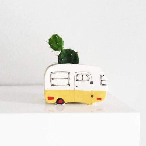 Vintage Yellow Boler Planter