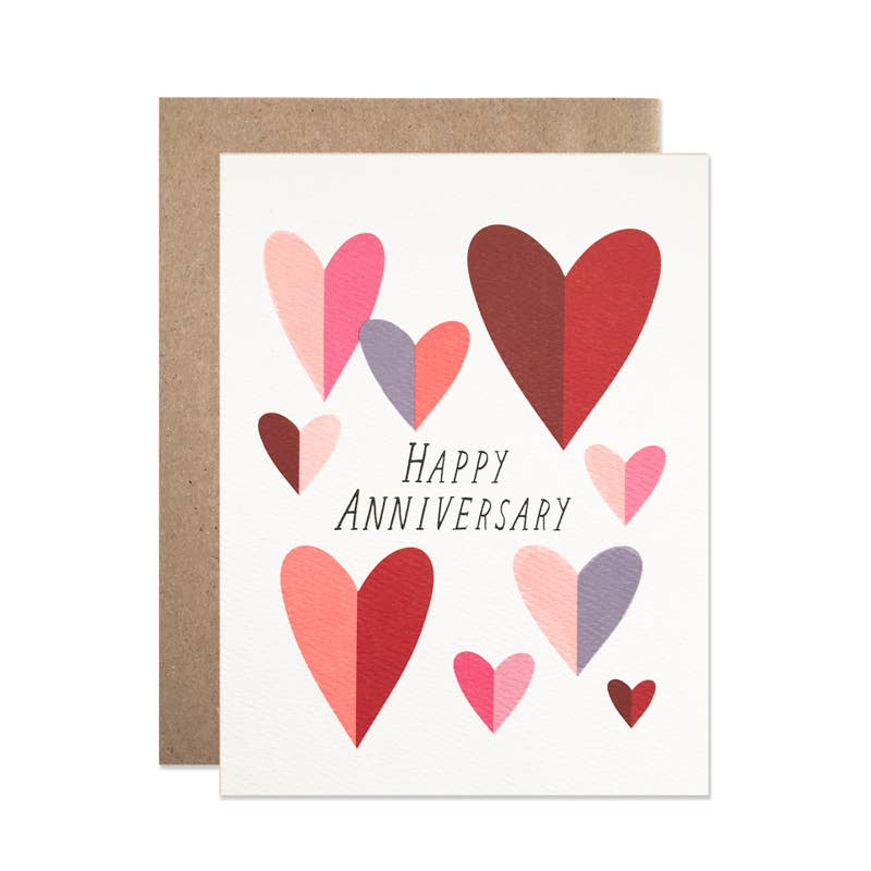 Folded Hearts Anniversary Card