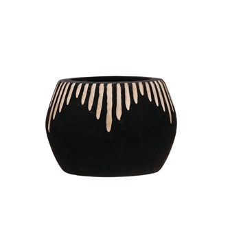 Black & White Wooden Pot