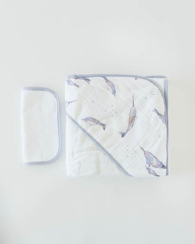 Hooded Towel + Washcloth Set in Narwhal Print