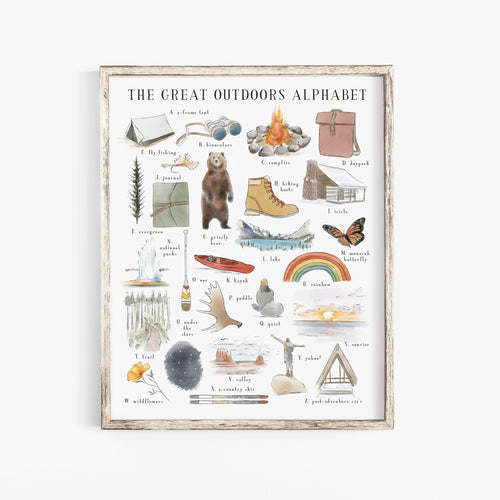 The Great Outdoors Alphabet Art Print