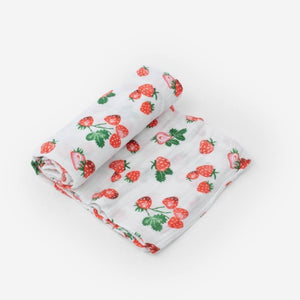 Strawberry Patch Cotton Muslin Swaddle