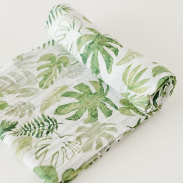 Tropical Leaf Muslin Swaddle