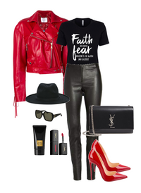 Faith/ Fear Outfit Ladies Fashion Graphic Tee - Polka Dot Posh Boutique