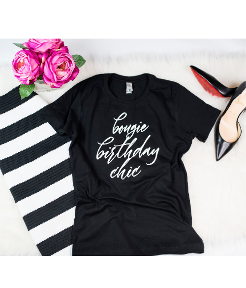 Bougie Birthday Chic Ladies Graphic Tee - Polka Dot Posh Boutique