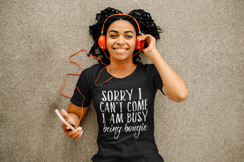 Sorry I Can't Come, Busy Being Bougie Ladies Graphic Tee - Polka Dot Posh Boutique