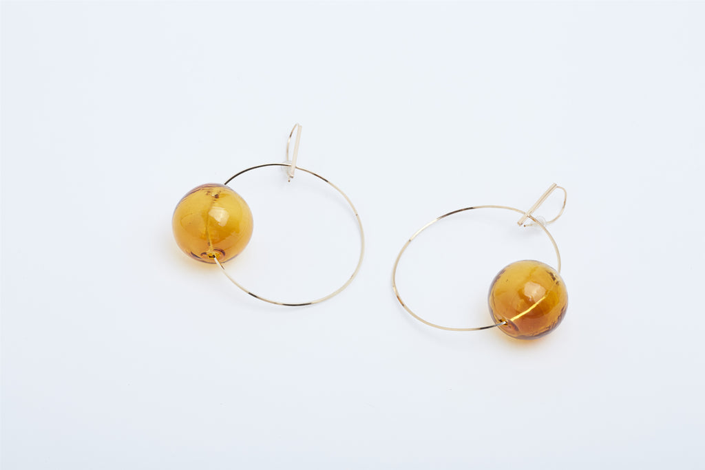 Amber Glass Loop Earrings