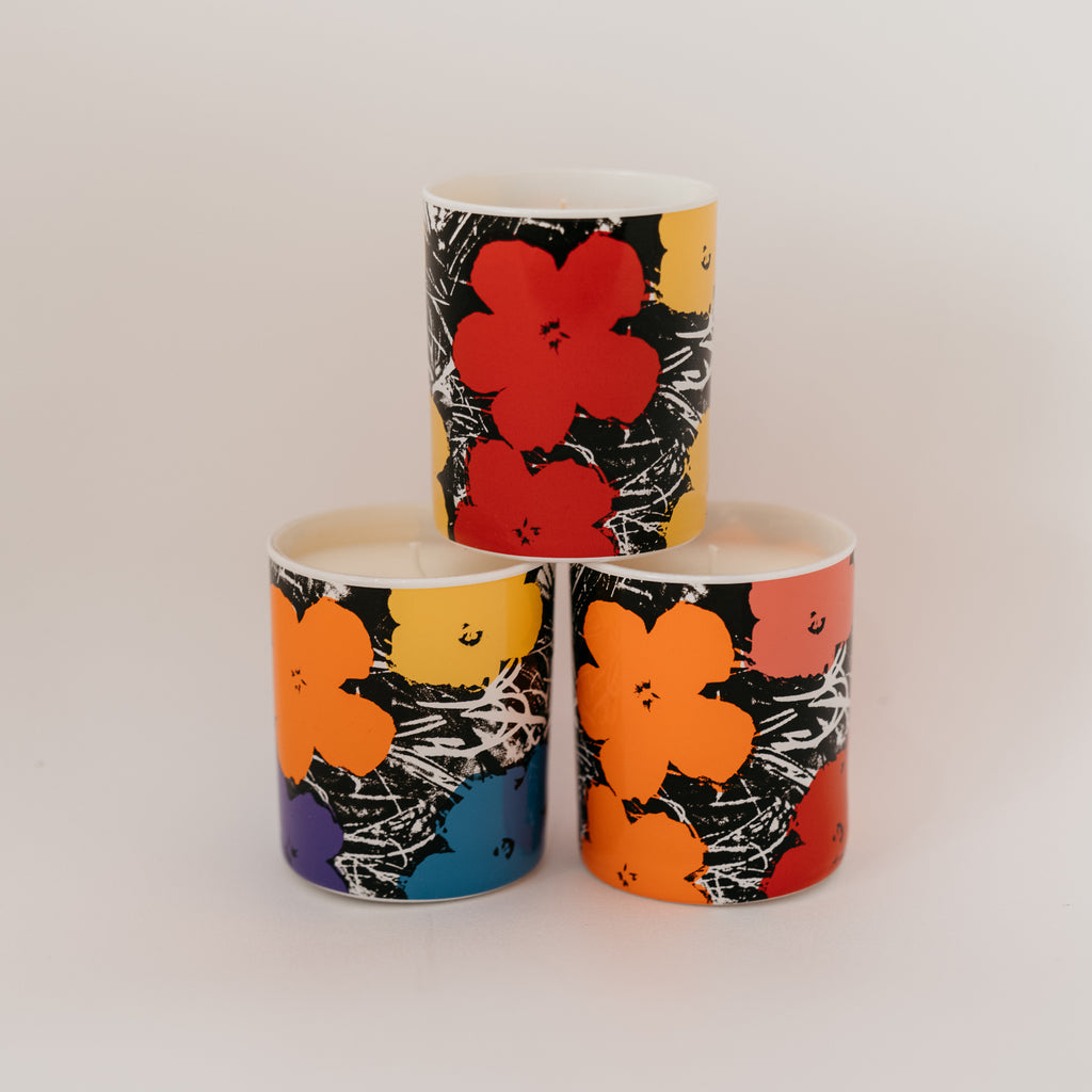 ANDY WARHOL -- Flower Candle in Yellow & Red (Floral, Citrus, Wood)