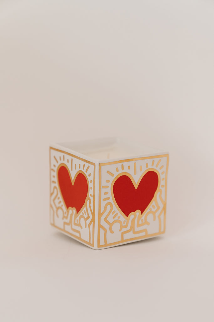 KEITH HARING CANDLES -- Red & Gold Heart Square Candle