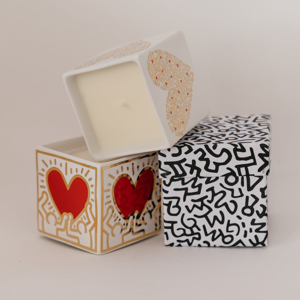 KEITH HARING -- Gold Heart Square Candle