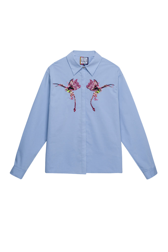 Shirt with Sequince Birds
