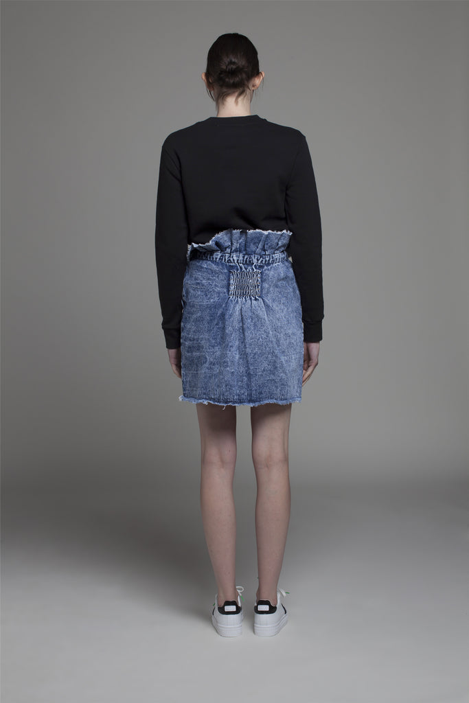 RUFFLED-WAIST DENIM SKIRT