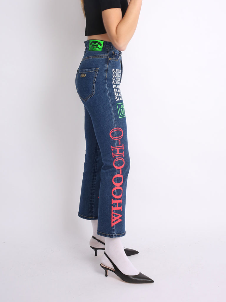 ASYMMETRIC WIDELEG JEANS WITH PRINT