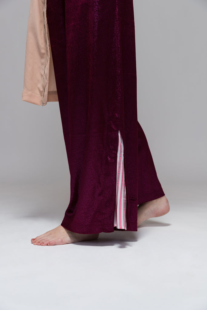 METALLIC WIDE LEG PANTS