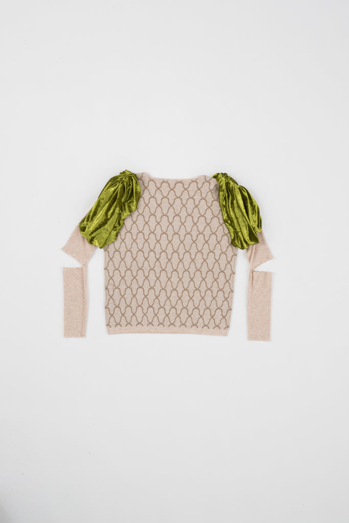SWEATER WITH VELVET SHOULDER PAD