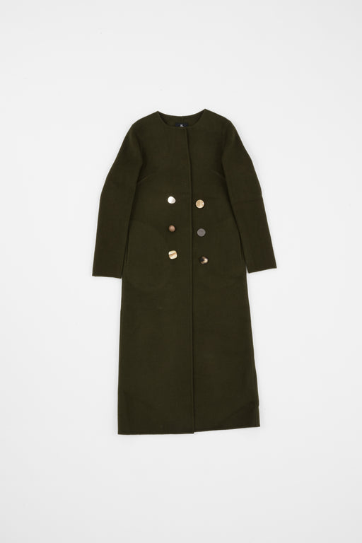 OLIVE COLLARLESS COAT