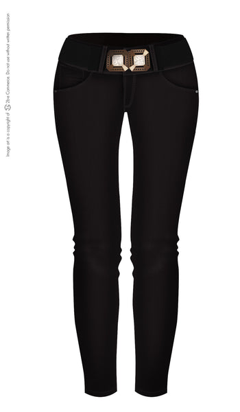 LT.ROSE 2006 Black Butt Lifting Jeans with Belt | Jeans Levanta Cola