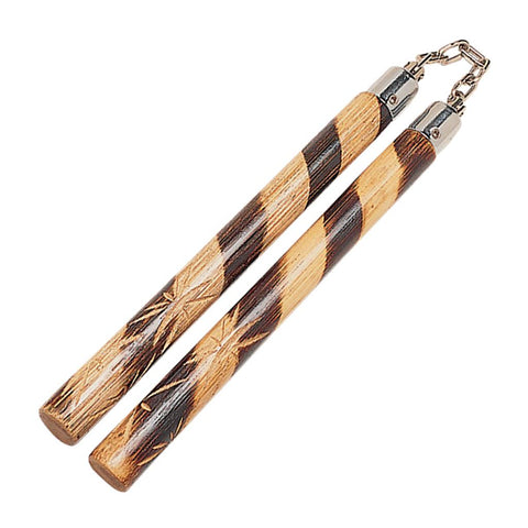 Hand Carved Rattan Nunchaku Natural 12""