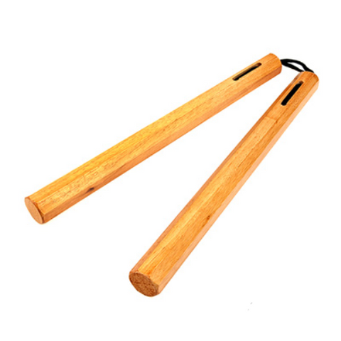 "Wooden Chucks Nunchaku Nylon Corded 12"" Inches Natural Octagonal"