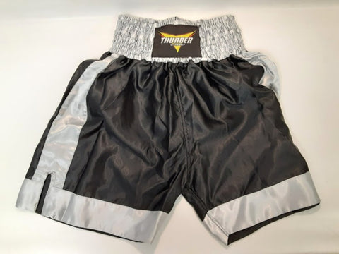 ProForce Thunder Satin Boxing Trunks Black/Grey Large