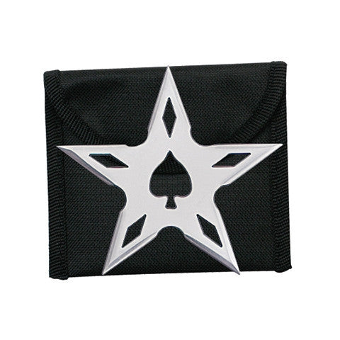 Ninja Stars 5-Point Silver Stainless Steel Stinger Throwing Star with Pouch