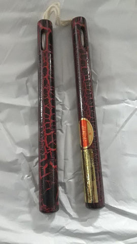 Crackle Design Nylon Corded Nunchaku Red/Black 12""
