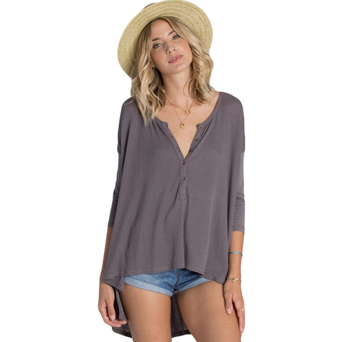 Billabong Hard To Chase Women's Top Shirts - Off Black