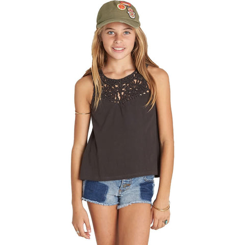 Billabong Second Look Youth Girls Top Shirts - Off Black