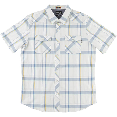 O'Neill Barrett Men's Button Up Short-Sleeve Shirts - Fog White