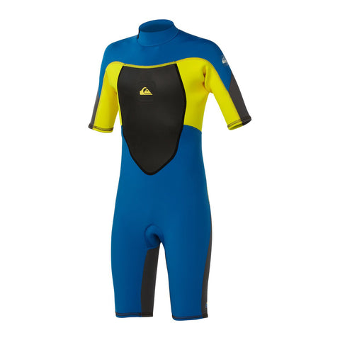 Quiksilver Syncro 2/2 Back Zip Youth Boys Full Wetsuit - Graphite/Blue/Yellow