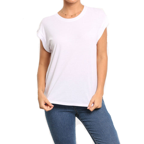Rusty Blank Rib Rolled Women's Short-Sleeve Shirts-TTL0795