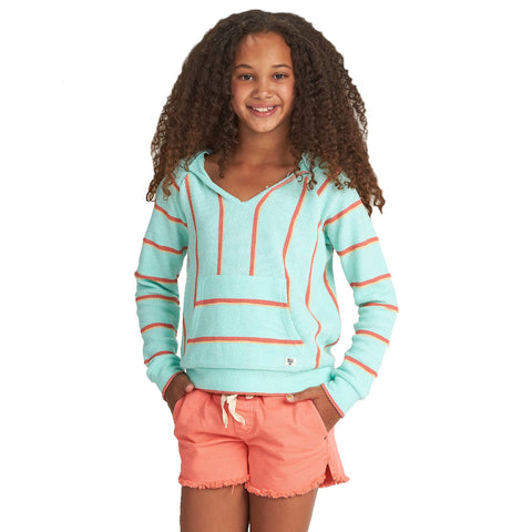 Billabong Sandy Stripes Youth Girls Hoody Pullover Sweatshirts -  Sea Green Light