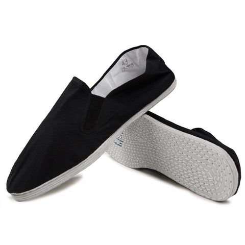 Kung Fu Shoes White Cotton Sole Black